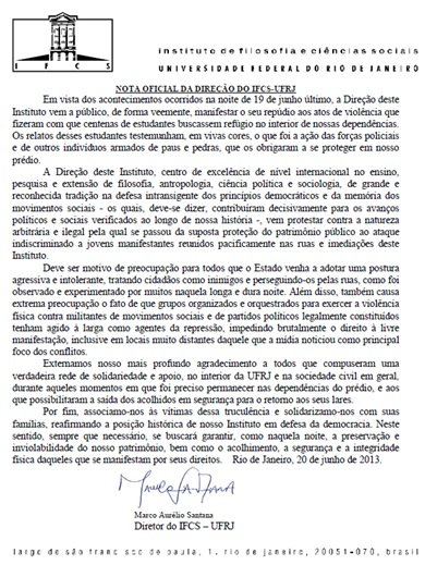 Nota Oficial IFCS