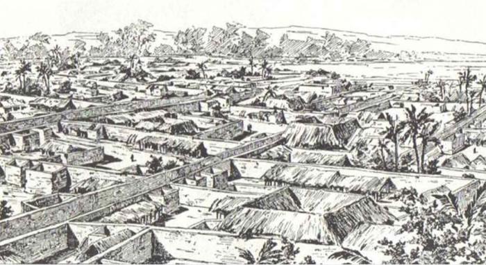 Vista da cidade de Benin em 1891 antes da conquista britânica. H. Ling Roth,Grande Benin, reprodução Barnes and Noble. 1968.