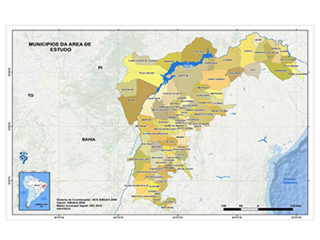 Mapa dos municípios estudados na Bahia