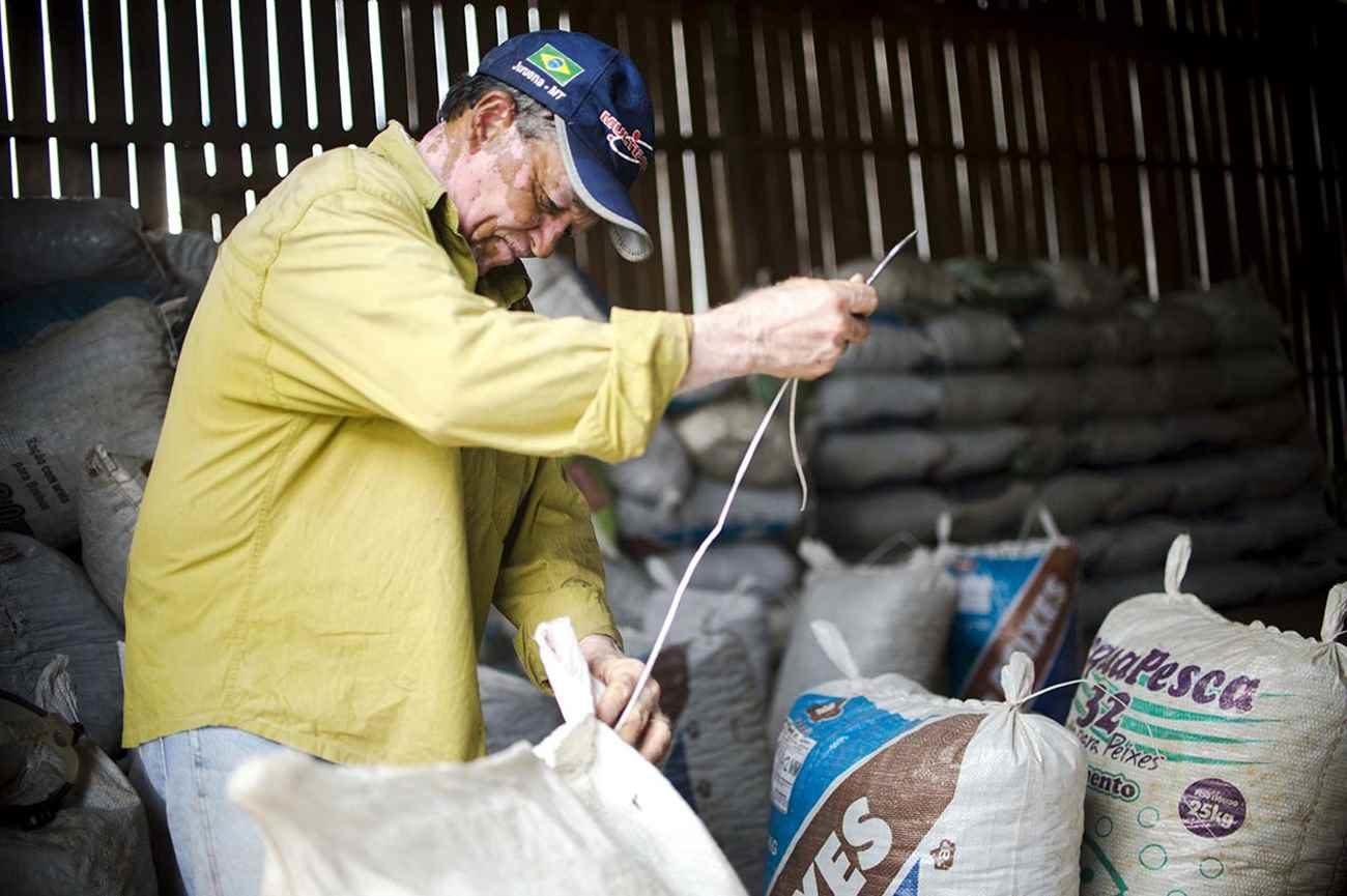 Juruena, MT, Brasil: Trabalhador da Cooperativa do Vale do Amanhecer costura sacos que armazenam as castanhas colhidas na reserva legal comunitária do assentamento. Marcelo Camargo/Agência Brasil)